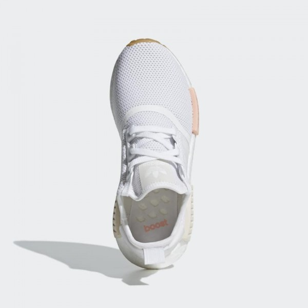 Adidas Women Originals NMD R1 White/Clear Orange Shoes BC0237