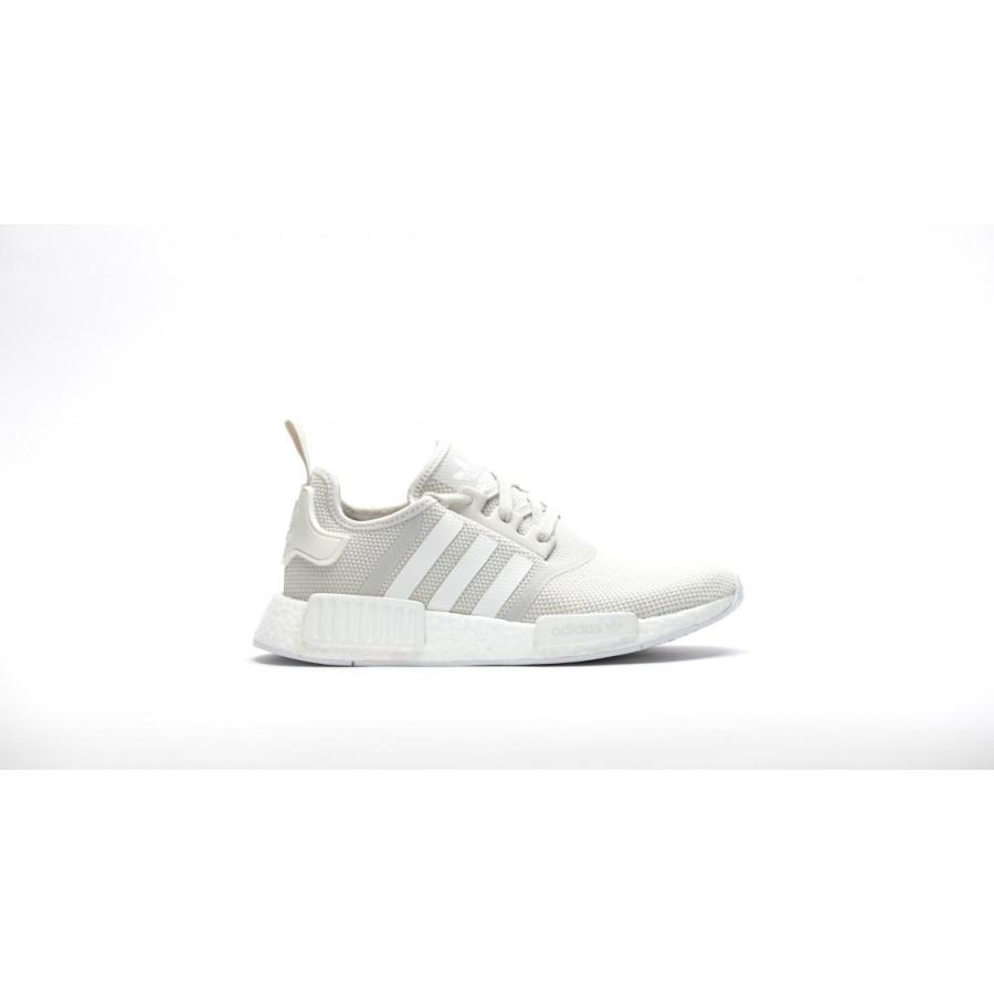 620c90657 Adidas Women NMD R1 Boost Runner Primeknit White Shoes S76007