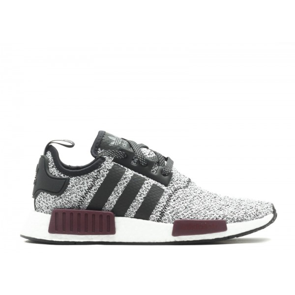Adidas Unisex NMD R1 J Wool Grey Burgundy Black Shoes BA7841