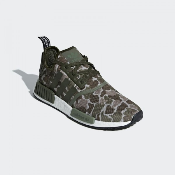 "Adidas Unisex NMD R1 ""Duck Camo"" Sesame/Green Shoes D96617"