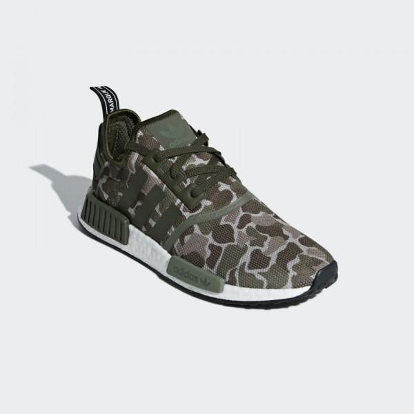 "Adidas Unisex NMD R1 ""Duck Camo"" Sesame/Green Shoes D96617"