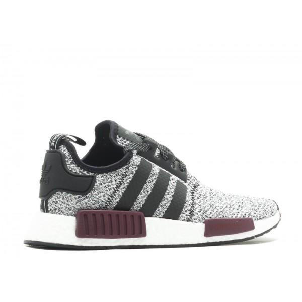 Adidas Unisex NMD R1 J Wool Grey Burgundy Black Shoes BA7841