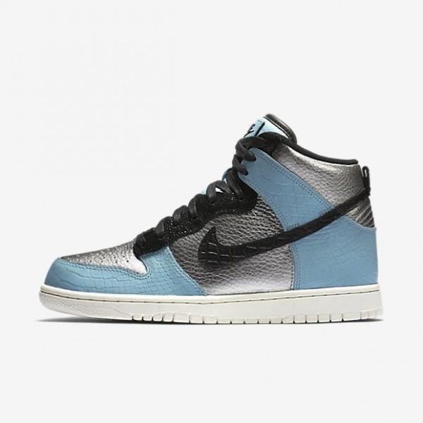 Nike Women Dunk High LX Silver Blue White Black Shoes 881233-002