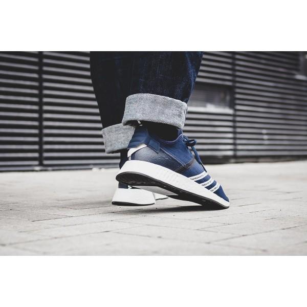 Adidas Men Originals White Mountaineering NMD R2 Primeknit Navy White Shoes BB3072