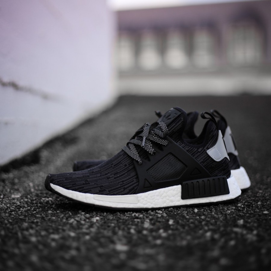 77a3ed0a6713d Adidas Men Originals NMD XR1 Primeknit Runner Boost Black Silver Shoes  S77195