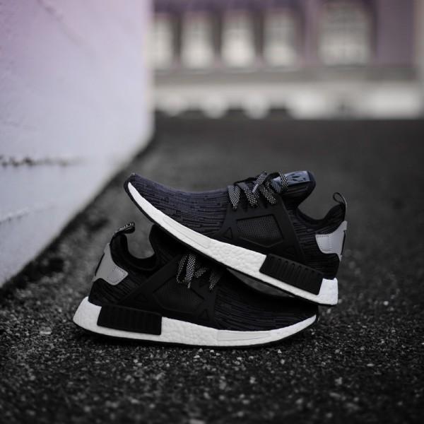 16aab3d6377c Adidas Men Originals NMD XR1 Primeknit Runner Boost Black Silver Shoes  S77195