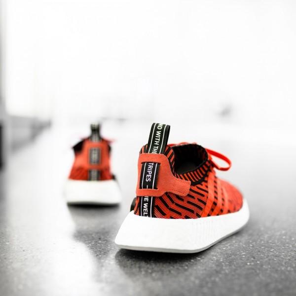Adidas Men Originals NMD R2 Primeknit Red Black White Shoes BB2910