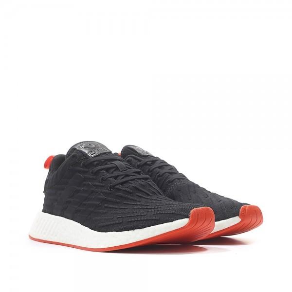 Adidas Men Originals NMD R2 Primeknit Black Red Shoes BA7252