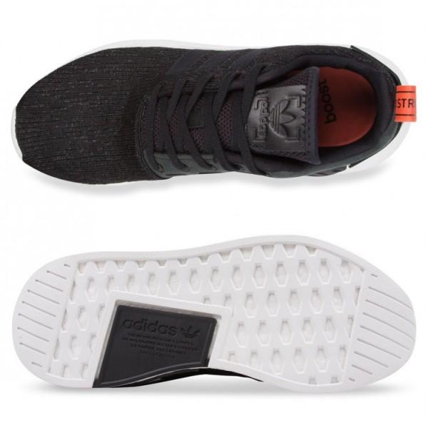 Adidas Men Originals NMD R2 Boost Black Orange Shoes CG3384