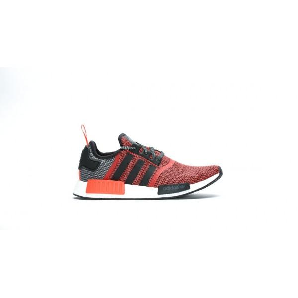 Adidas Men NMD R1 Primeknit Lush Red Black Shoes S...