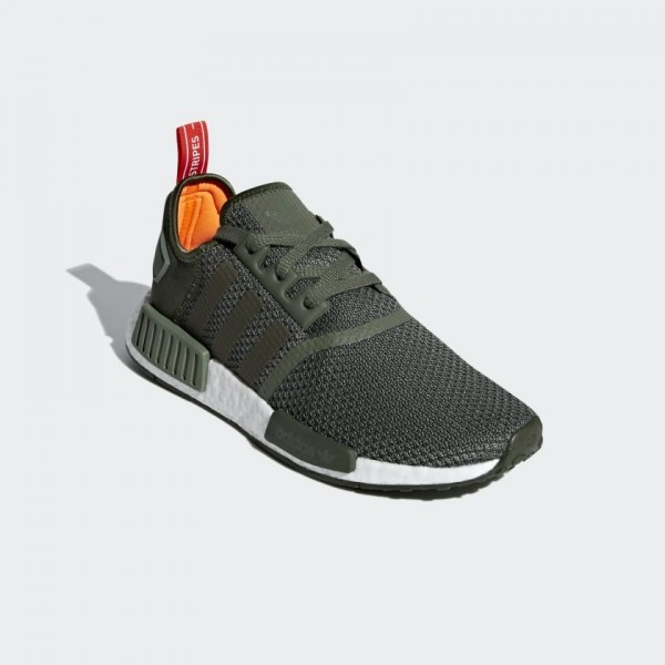 Adidas Men NMD R1 Olive Green/White Sneakers B37620
