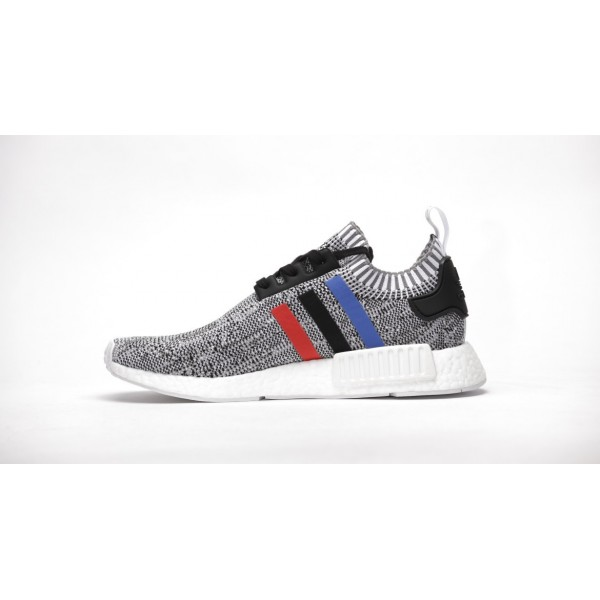 "Adidas Men NMD R1 Boost Runner Primeknit ""Tricolore White"" Shoes BB2888"