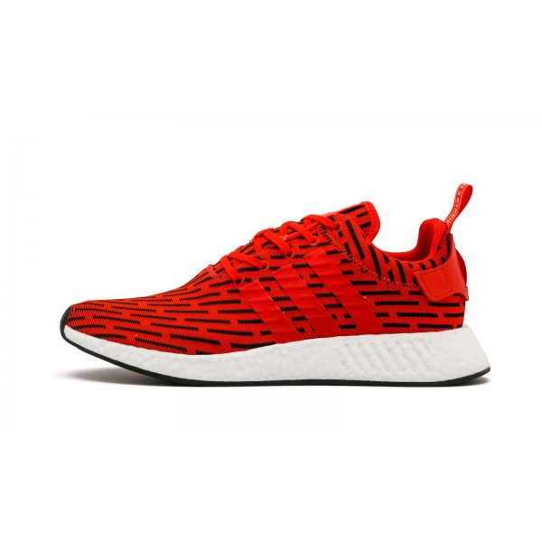 Adidas Men NMD R2 Primeknit Red White Black Shoes ...