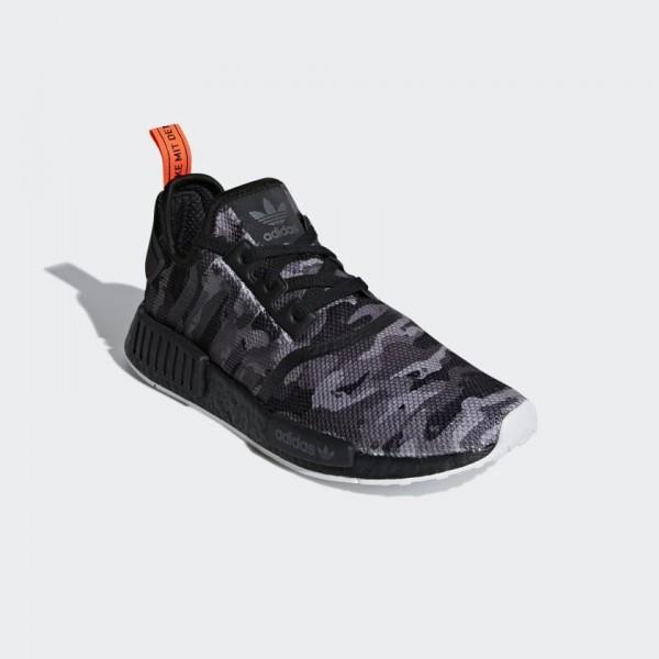 "Adidas Men NMD R1 Boost NYC ""Black Camo"" Grey Red G28414"