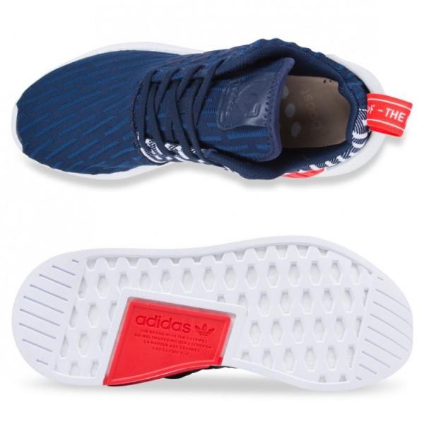 Adidas Men NMD R2 Primeknit Collegiate Navy White Shoes BB2952