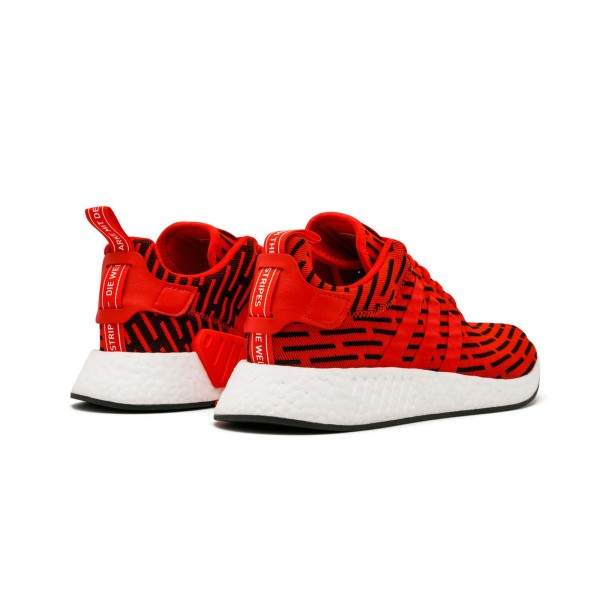 Adidas Men NMD R2 Primeknit Red White Black Shoes BY2098