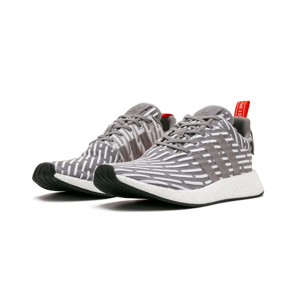 "Adidas Men NMD R2 ""JD Sports"" Grey White Red Shoes BY2097"