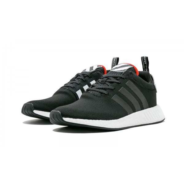 "Adidas Men NMD R2 ""Hong Kong"" Black White Red Shoes BY2325"
