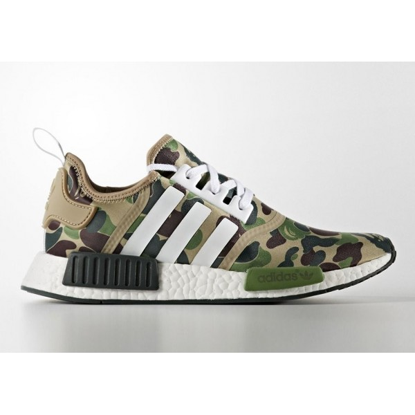 Adidas Men NMD R1 X Bape Camo Green Shoes BA7326