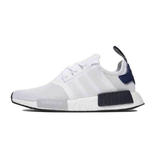 Adidas Men NMD R1 White Navy Blue Black Shoes CG29...