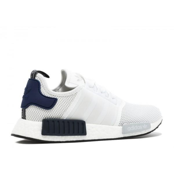 Adidas Men NMD R1 White Navy Blue Black Shoes CG2949