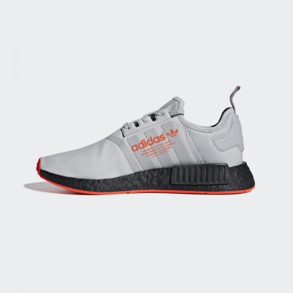 Adidas Men NMD R1 Running Shoes Grey Solar Red F35...