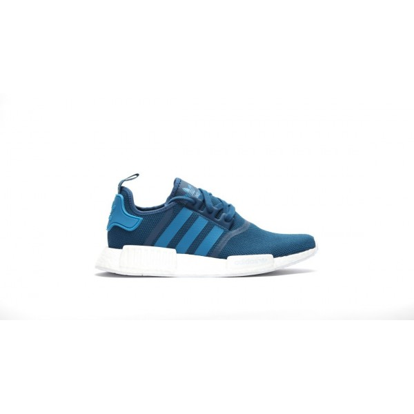 Adidas Men NMD R1 Runner Boost Blue White Shoes S3...