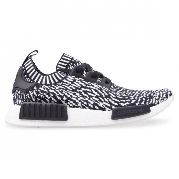 Adidas Men NMD R1 Primeknit Zebra Boost Black Whit...