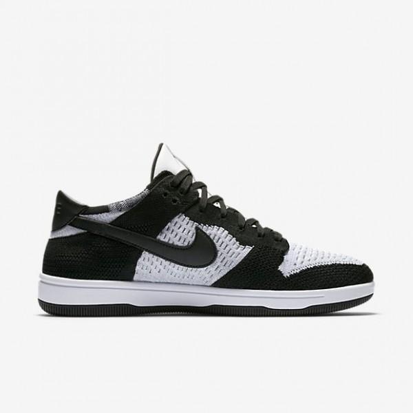 Nike Men Dunk Low Flyknit White Grey Black Shoes 9...