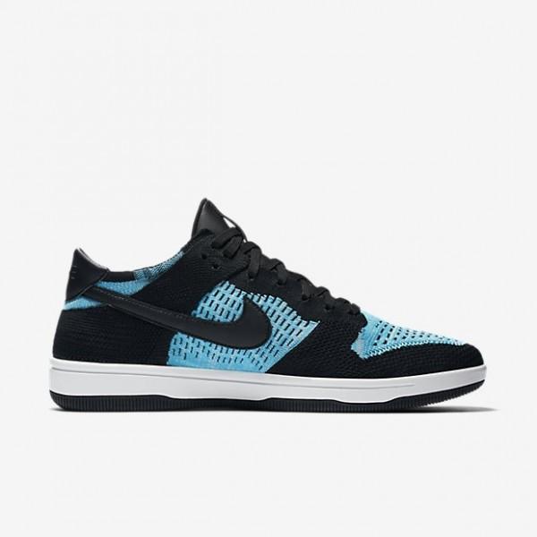 Nike Men Dunk Low Flyknit Black White Blue Shoes 9...