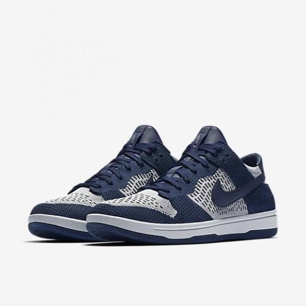 Nike Men Dunk Low Flyknit Blue Black Grey Shoes 917746-400