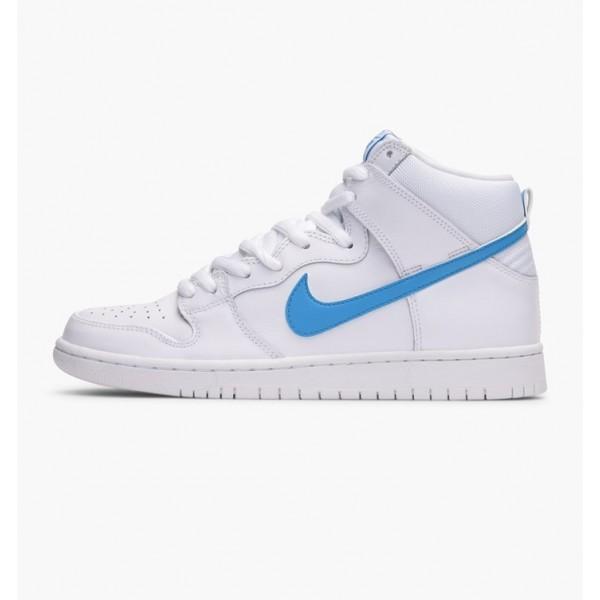 Nike Men Dunk High TRD QS White Blue Shoes 881758-...