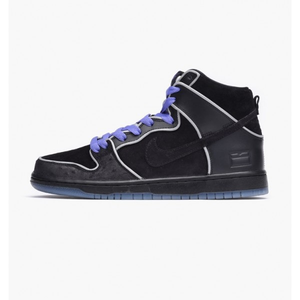Nike Men Dunk High Elite SB Black White Purple Sho...