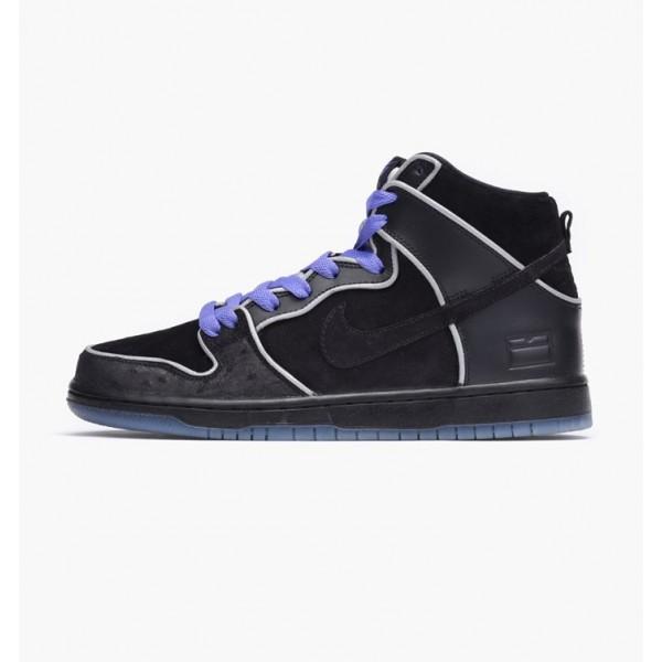 Nike Men Dunk High Elite SB Black White Purple Sho...