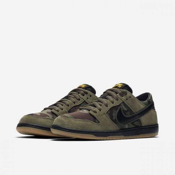 Nike 854866-209 SB Zoom Dunk Low Pro Medium Olive/Black/Gum