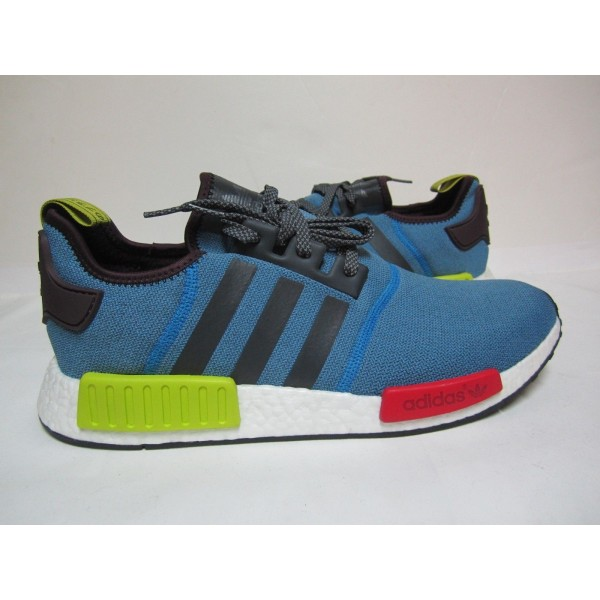 "Adidas Men NMD R1 ""Villa Exclusive"" Multi-Neon Blue Red White Shoes BA9746"