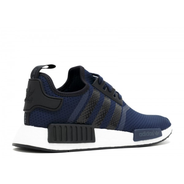 """Adidas Men NMD R1 """"Perforated Mesh"""" Navy Black Shoes BB1356"""