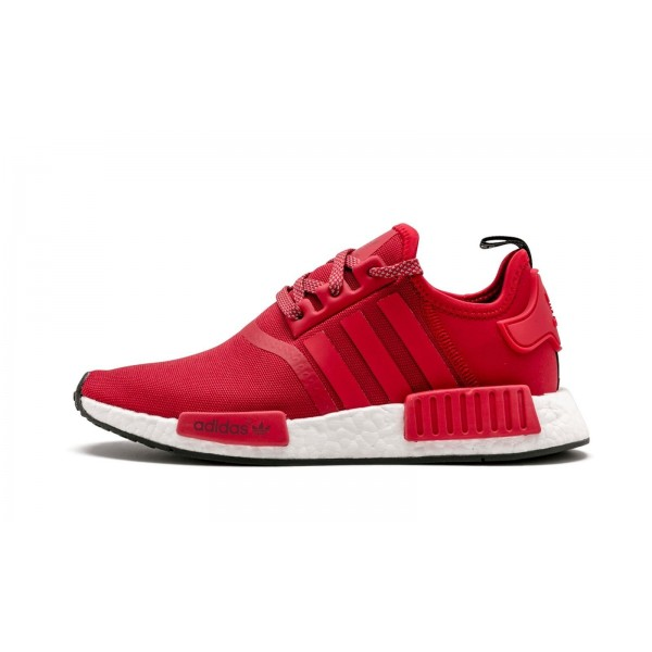 "Adidas Men NMD R1 ""Euro"" Red White Black Shoes BY2503"