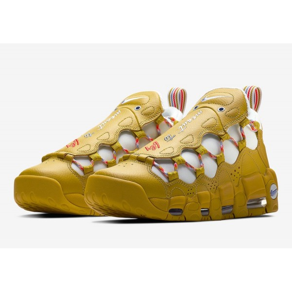 """AO1749-300 Nike Air More Money """"Meant to Fly"""" Gold Women Shoes"""