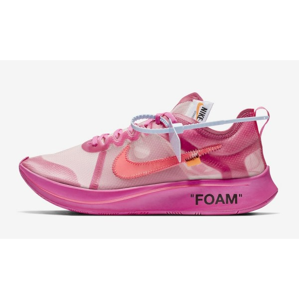 AJ4588-600 Off-White x Nike Zoom Fly SP Tulip Pink...