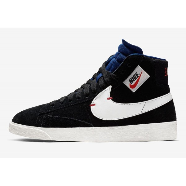 BQ4022-005 Nike Blazer Mid Rebel Black White Blue ...