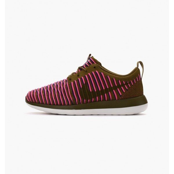 Nike Women Roshe Two Flyknit Olive Flak Blue Shoes...