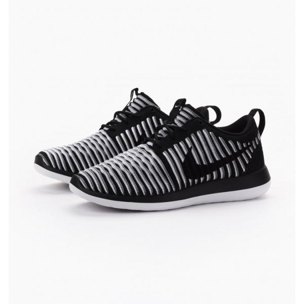 Nike Women Roshe Two Flyknit Black White Grey Shoes 844929-001