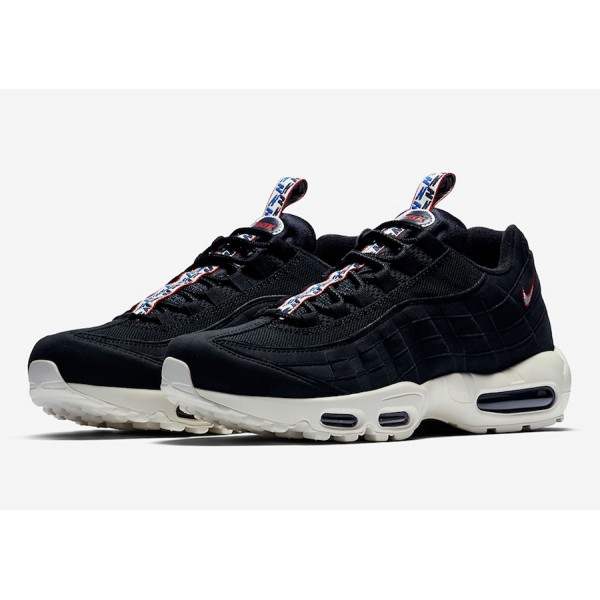 Men Nike Air Max 95 Pull Tab Black/Gym Red/Sail AJ1844-002