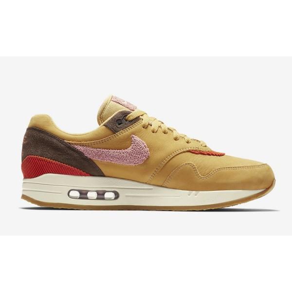CD7861-700 Nike Air Max 1 Premium Wheat Gold Rust Pink Men Shoes