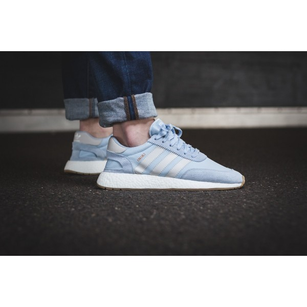 Adidas Men Iniki Runner Boost Light Blue Light Grey White Shoes BB2099