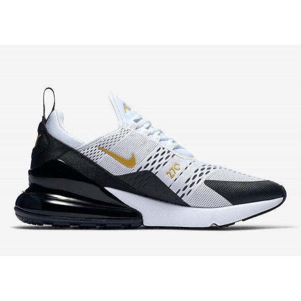 AV7892-100 Nike Air Max 270 White Metallic Gold Black Men Shoes