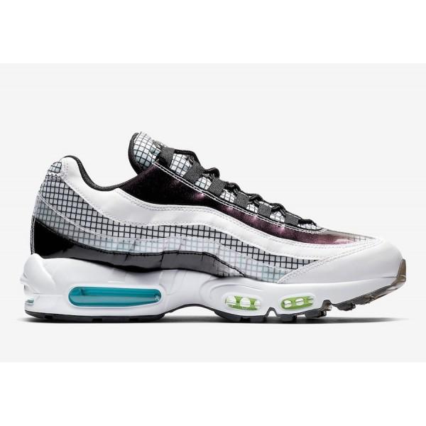 AO2450-100 Nike Air Max 95 White Black Blue Gaze Men Shoes