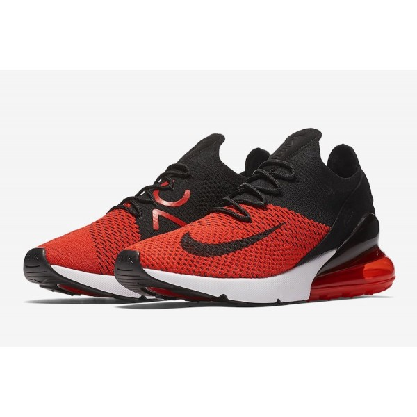 AO1023-601 Nike Air Max 270 Flyknit Chile Red Black Men Shoes