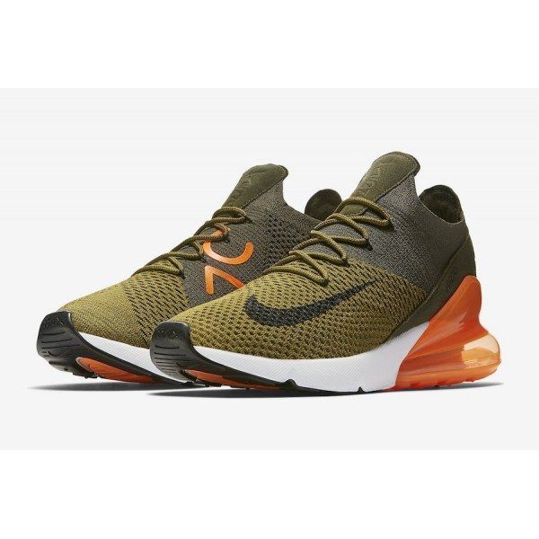 AO1023-301 Nike Air Max 270 Flyknit Olive Green Men Shoes